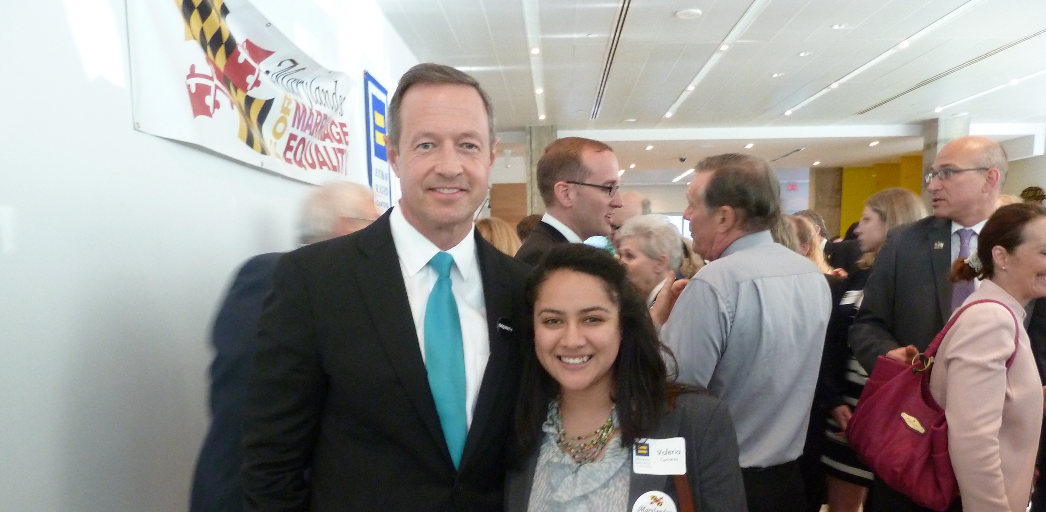 Governor O'Malley and MCYD member Valeria Carranza at HRC Reception for Marriage Equality